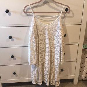 Lace open shoulder dress